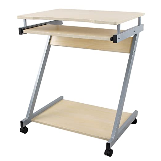 Songmics Computer Desk Z Shaped PC Table Movable Portable Trolley Study  Workstation With Sliding Keyboard 4 Wheels 60 X 48 X 73 Cm Natural LCD811N:  ...