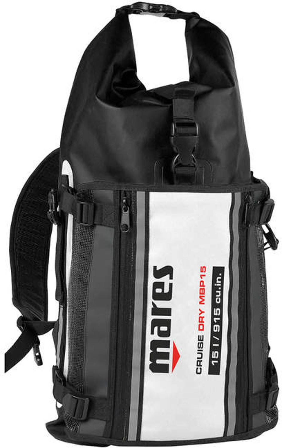 Mares 415451-BKWH Mares D55 Cruise Double Closure System Dry Bag, Black/White, 55 L