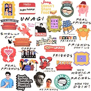 Friends Sticker,Friends Pack Stickers for Water Bottles.Friends Laptops Sticker,Water-Resistant Vinyl Decal Sticker for Phone,Computer,Hydro Flasks,Cars,Bicycles 34 PCS (Friends Series)