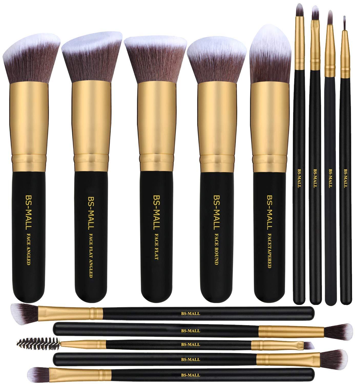 BS-MALL(TM) Premium 14 Pcs Synthetic Foundation Powder Concealers Eye Shadows (Golden Black)