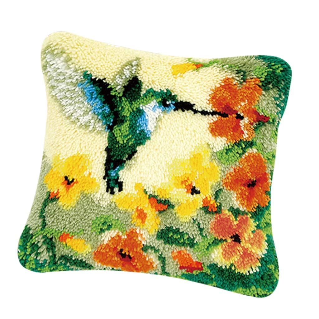 SM SunniMix DIY Needles Crafts Latch Hook Kit with Basic Kit Animal/Flower Making Pillow Case - Cat