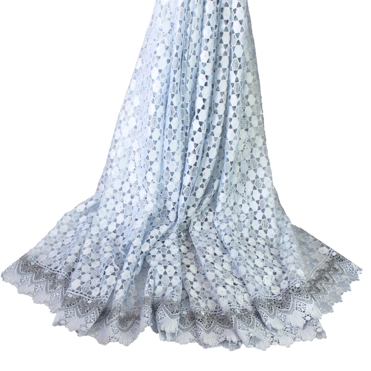 Silver Aisunne 5 Yards African Lace Fabrics Classics Nigerian French Lace Fabric with Embroidered For Wedding Party Dresses