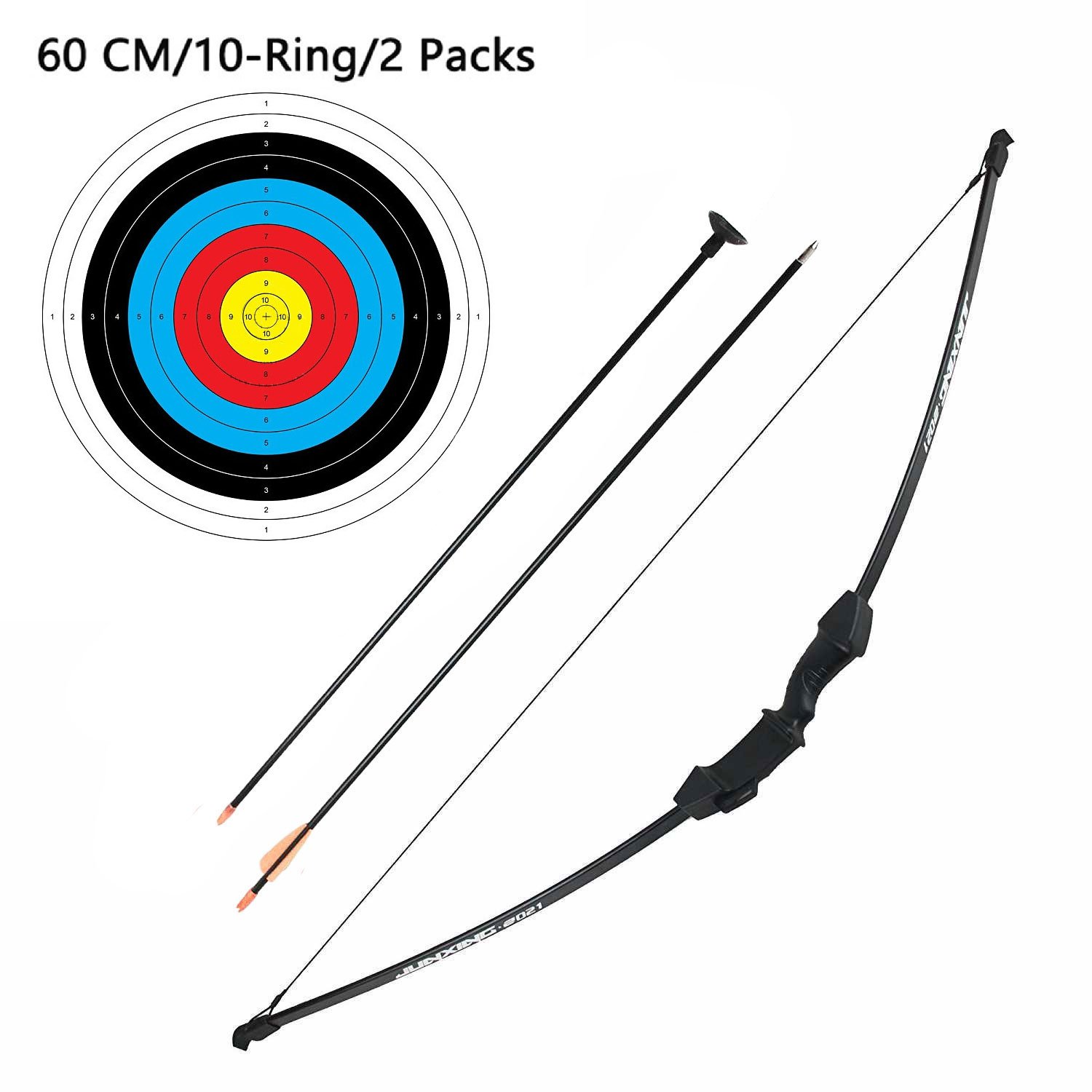 Junior Children Recurve Bow Hunting Archery Bow and Arrow set Youth Bow Training Toy Best Gift for Kids 18 Lb 45 Inches (2 x Arrows,2 x Archery Papers)