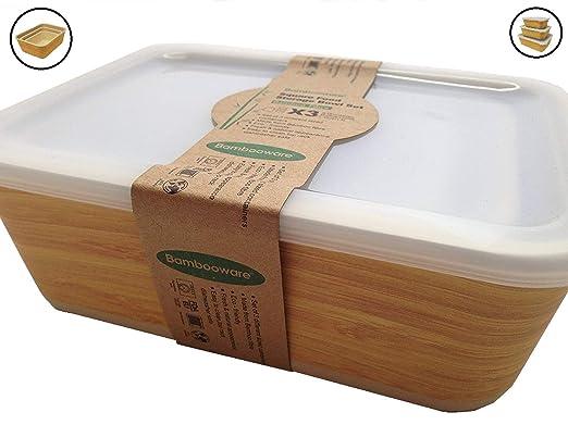Tupper de Bambu ♻ 3 Tuppers de Fibra de Bambú Ecologicos - Material Organico, Reciclable, Biodegradable - Apto Lavavajillas - Resistente y Ligero - ...