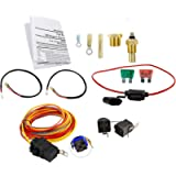 Dual Electric Cooling Fan Wiring Install Kit 185 Degree On 165 Off Engine Fan Thermostat Temperature Switch 40/50 AMP…