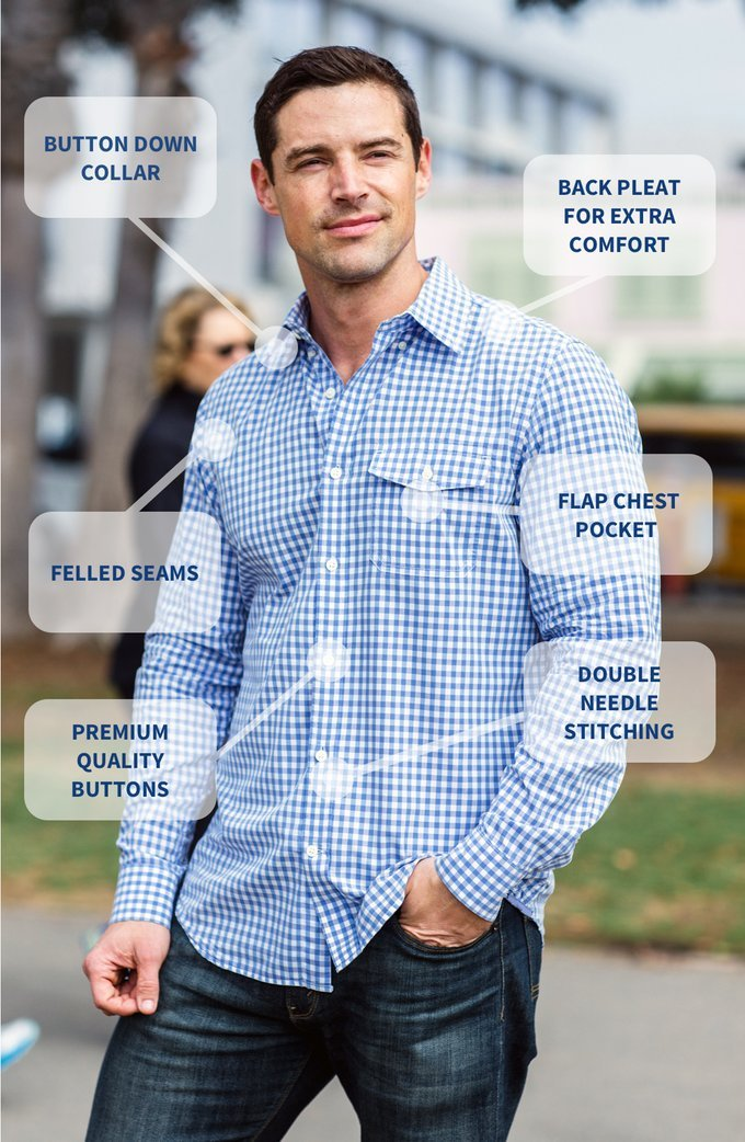 The Best Shirt Ever - Stainproof, Waterproof, Sweat-wicking Men's Button Down (Medium, Gingham Blue) by Clickbait Clothing (Image #2)