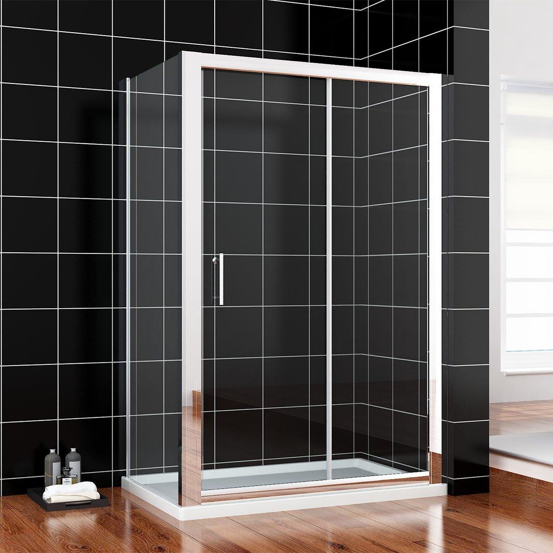 140x90x185cm SIRHONA Porte de douche coulissante paroi de douche pare-douche verre de s/écurit/é