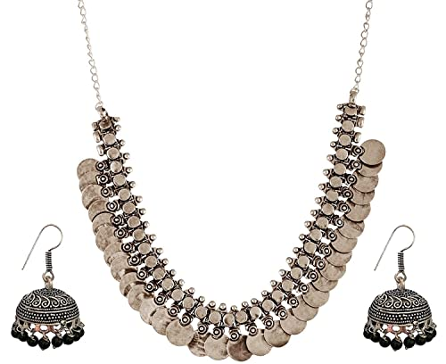 Oxidised Silver Coin Necklace  with Jhumka German Silver Indian Jewelry