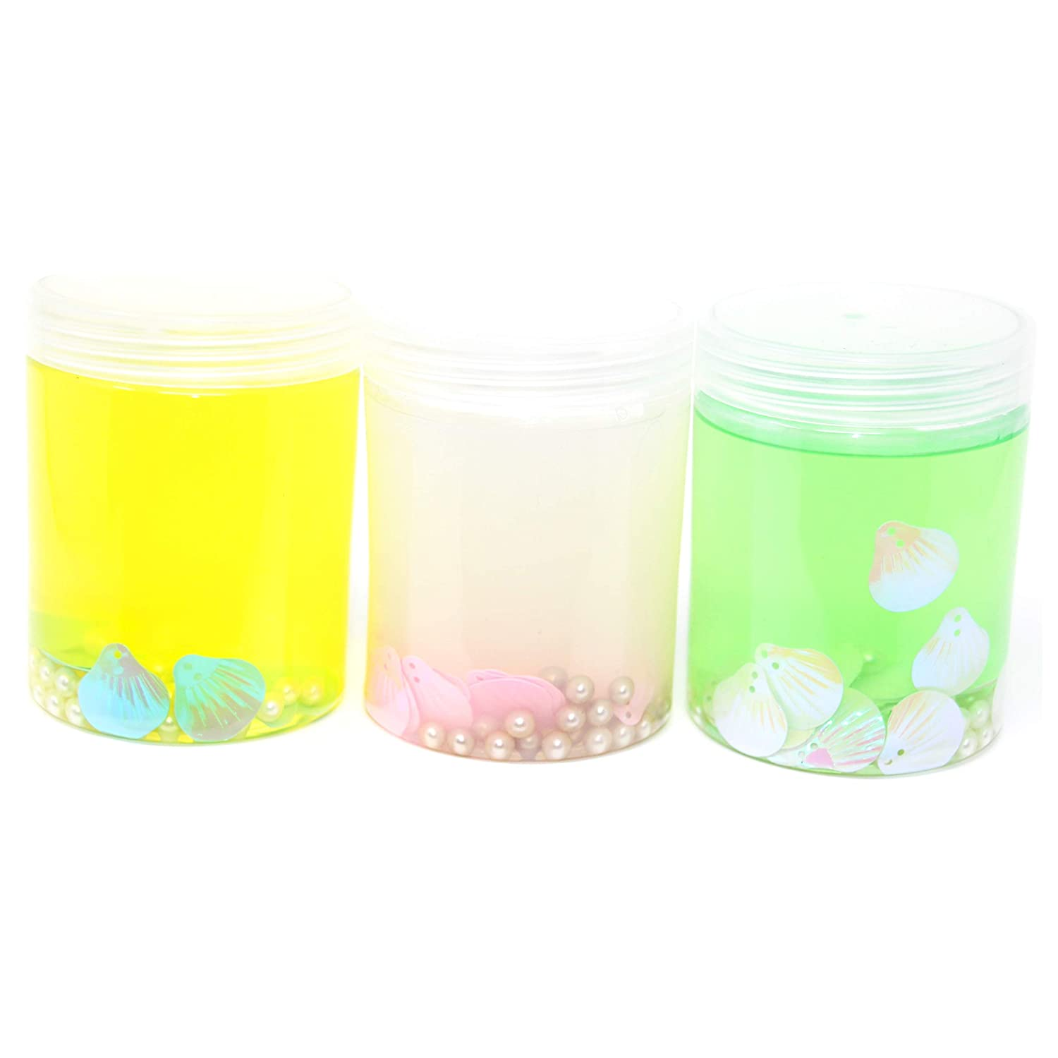 Stress Relief Turbany Inc. Turbany A Pack of Three Slime Pots Kids Wet Super Soft /& Squishy. Non Sticky Yellow-White-Green