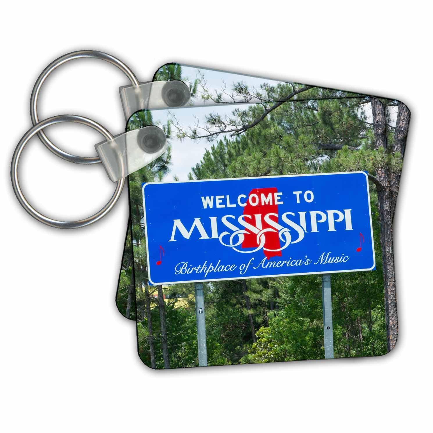 3dRose Sign For Welcome To Mississippi Birthplace Of American Music - Key Chains, 2.25'' x 2.25'', Set of 2 (kc_251177_1)
