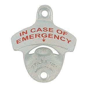 IN CASE OF EMERGENCY Starr X Wall Mount Bottle Opener Sturdy Metal Design