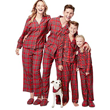 christmas family matching pajamas pjs set scottish pattern red plaid christmas pajama set for family