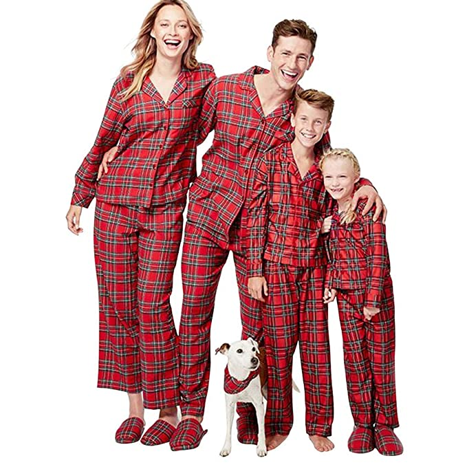837a44f008 PatPat Family Pajamas Matching Sets Red Plaid Loungewear Sleepwear Button  Front Blouse   Trousers Holiday Suits at Amazon Women s Clothing store