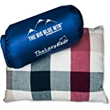 Compressible Camping Pillow for Lightweight Outdoor Travel Sleep System with Nylon Compact Pouch Bag (Red Stripe)