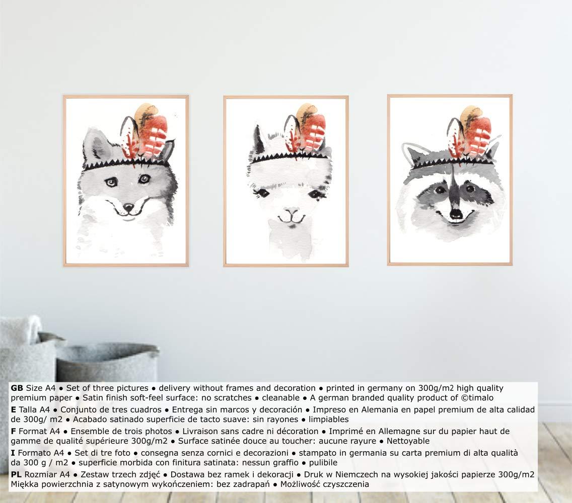 ideales para decorar una habitaci/ón infantil o de beb/é de un ni/ño o de una ni/ña A4 3 St/ück - T000 timalo/® t3er01 Lote de 3/p/ósteres con dise/ño de animales