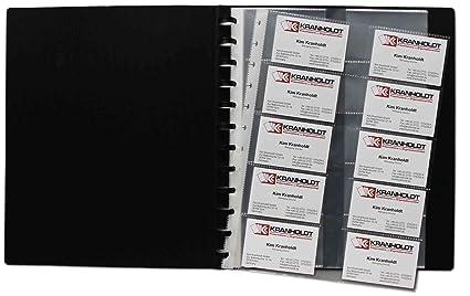 Tarjeta de visita Visión libro flexzip A4 Negro con 10 fundas para tarjetas de visita intercambiables para hasta 400 tarjetas de visita