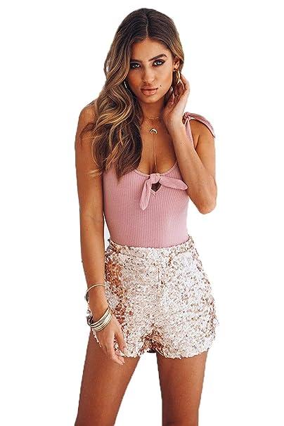 3b8cc8076591 Damen Fashion Pailletten Shorts Elastische Taille reizvolle Glitzer Party  Mini Hosen Hohe Taille Kurze Hosen mit