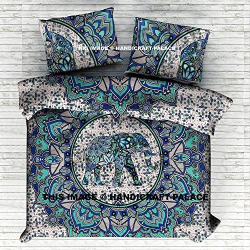 HANDICRAFT-PALACE Elephant Mandala Comforter Queen Quilt Cover Set Cotton Handmade