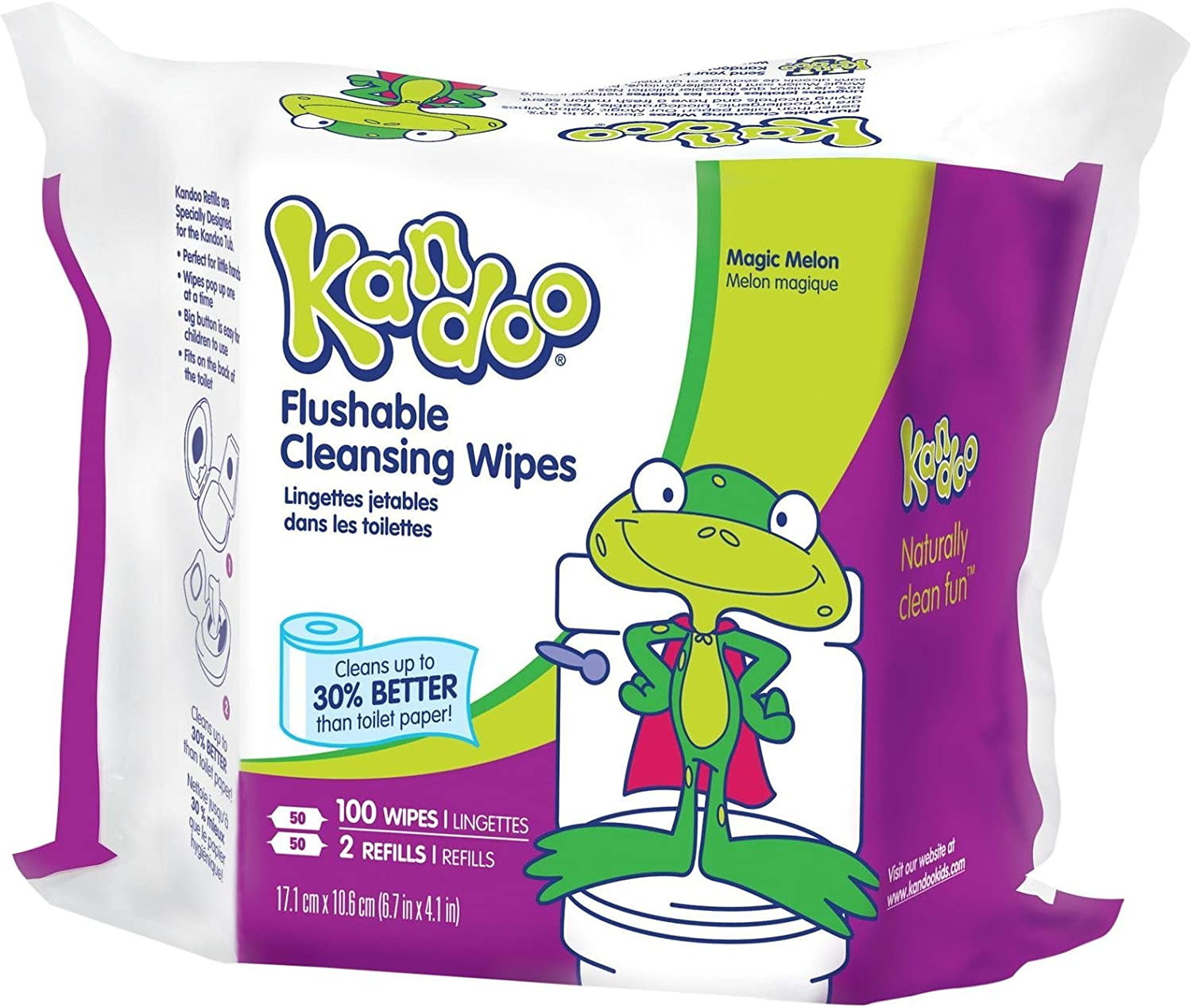 Refill 100 Count Kandoo Flushable Cleansing Wipes Magic Melon Scent