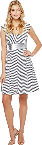 Adrianna Papell Womens Cap Sleeve Stripe Fit and Flare Dress