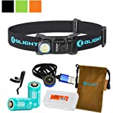 Olight H1R Nova 600 Lumens Rechargeable LED Headlamp (Multiple Color Options) w/ 2x Olight RCR123A Batteries, Magnetic USB Charging Cable, and LumenTac Battery Organizer