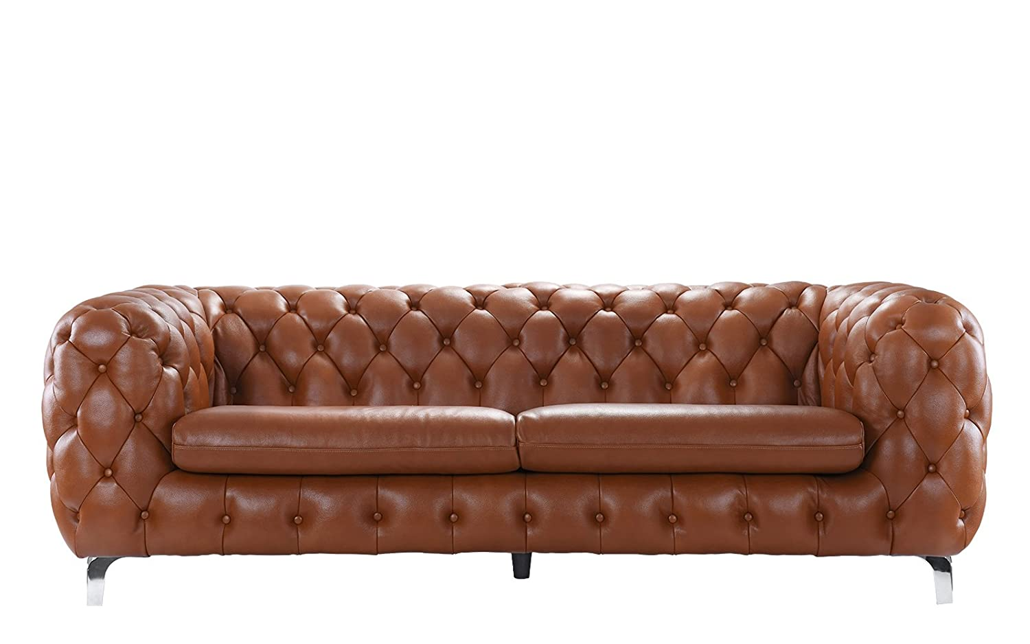 Amazon: Modern Real Leather Tufted Chesterfield Sofa Couch With  Built-in Shelving Space (Camel): Kitchen & Dining