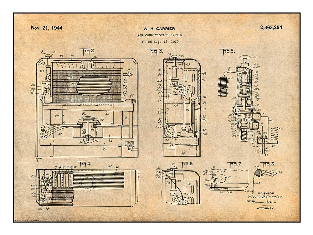1939 Carrier Air Conditioning System Patent Print Art Drawing Poster 18X24