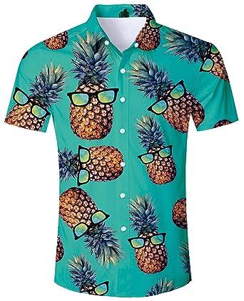 d624744ef11a ALISISTER Tropical Hawaiian Shirt Men Vacation Shirts 3D Pineapple Aloha  Blouse Button Down Collar Beachwear Summer