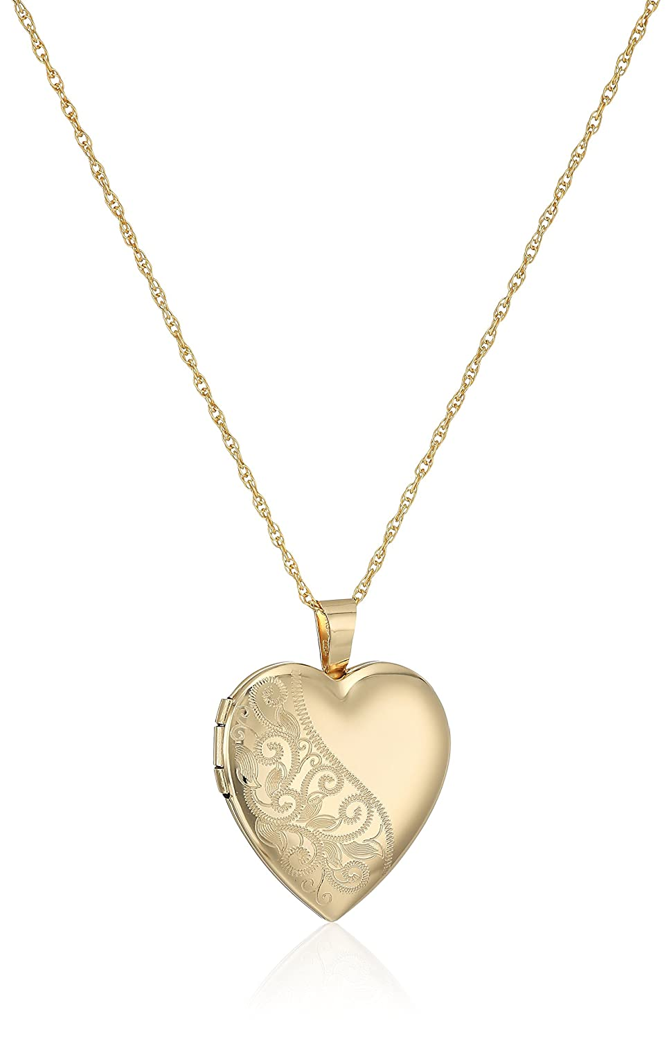 14k Gold-Filled Satin and Polished Finish Hand Engraved Heart Shaped Locket Necklace, 18 18 Amazon Collection AMZ6002F