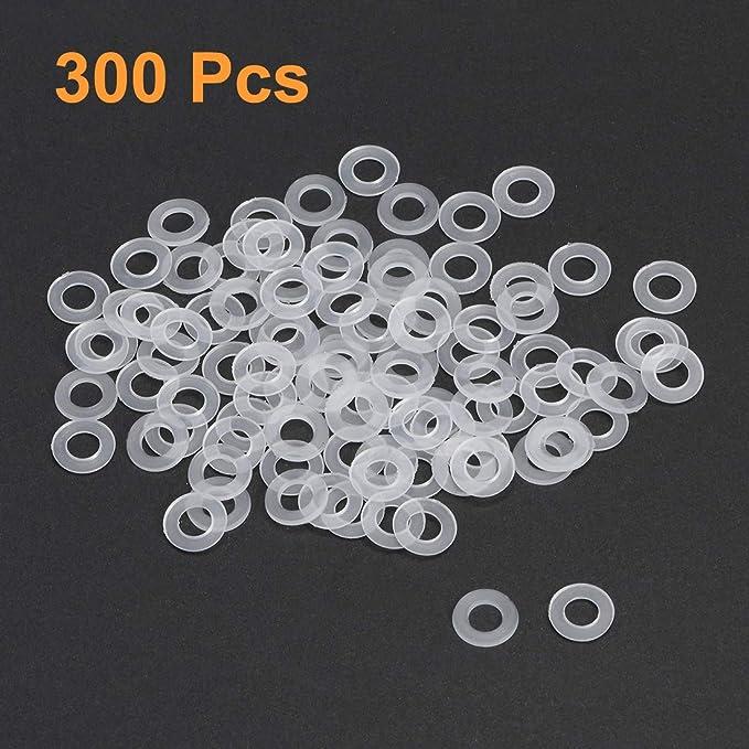 Sourcingmap nailon, 300 unidades color blanco Arandelas planas para tornillos