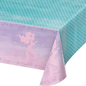 """Creative Converting 336720 PLASTIC TABLECOVER ALL OVER PRINT, 54"""" X 102"""", 0.01x102x54inc, IRIDESCENT"""