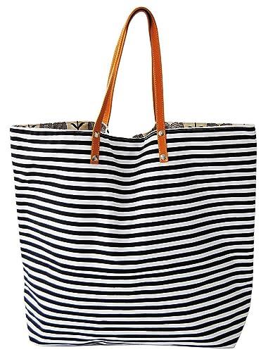 Strandtasche xxl beachbag, Einkaufstasche Streifen, Shopper maritim aus Canvas, Classic Baia Verde Breite ca. 51cm, Höhe ca. 42cm mit Innentasche, Beach Bag Gama