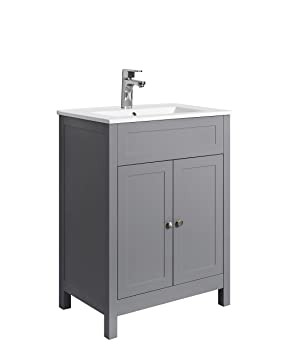 tailored plumb 600mm traditional grey bathroom vanity unit ceramic basin sink furniture storage cabinet - Bathroom Vanity Units