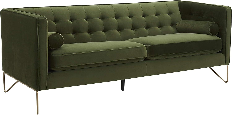"Amazon Brand – Rivet Brooke Contemporary Mid-Century Modern Tufted Velvet Sofa Couch, 82""W, Emerald"