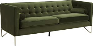 "Amazon Brand – Rivet Brooke Contemporary Mid-Century Modern Tufted Velvet Sofa Couch, 82""W, Emerald"