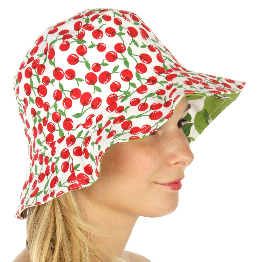 f276bc489 Lovely Retro Mod Fruit Love Pear and Cherry Reversible Bucket Hat at ...