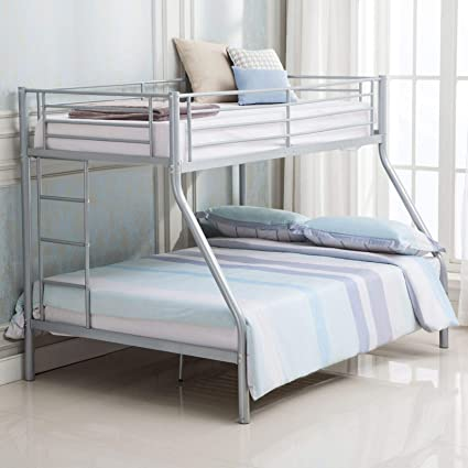 Mecor Metal Bunk Beds Frame Ladder Twin Over Full Kids Teens Adults Dorm Bedroom Use Silver