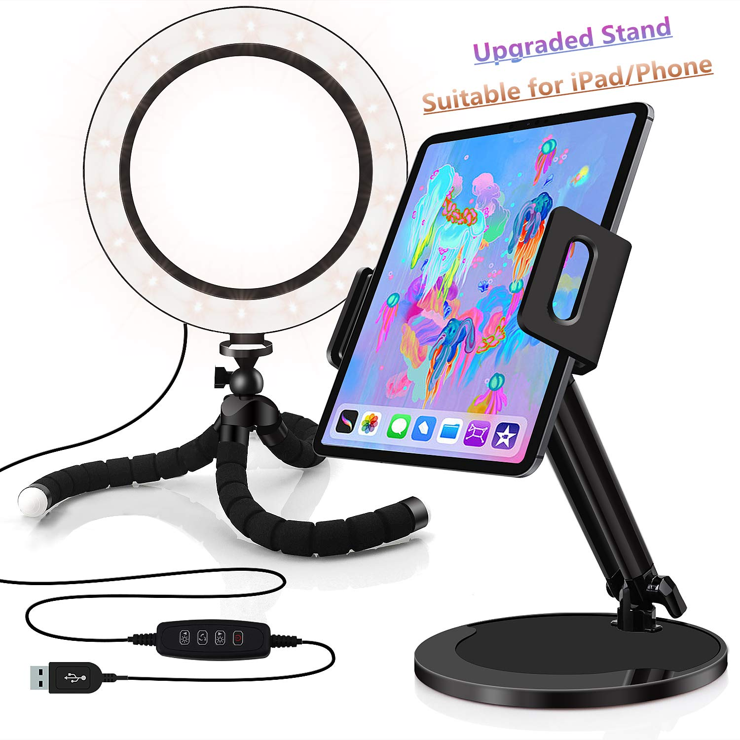 8-inch Ring Light with Stand - Adjustable Phone/Tablet Holder, Compatible with iPad/iPhone/Samsung/Android/Fire Tablets, Ideal for Video/Live Streaming/Selfie/Makeup by GYTF