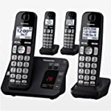 Panasonic DECT 6.0 Expandable Cordless Phone System with Answering Machine and Call Blocking - 4 Handsets - KX-TGE434B…