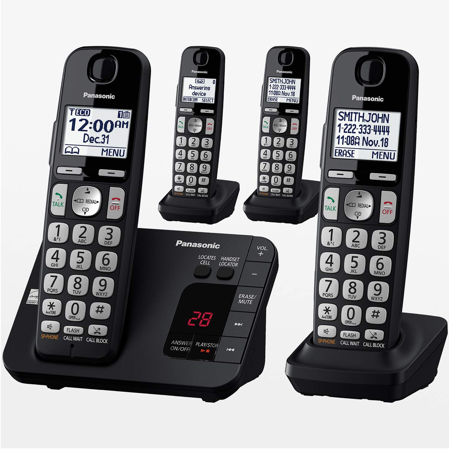 PANASONIC DECT 6.0 Expandable Cordless Phone System with Answering Machine and Call Blocking - 4 Handsets - KX-TGE434B (Black)