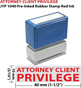 Attorney Client Privilege JYP PA1040 Pre-Inked Rubber Stamp Red Ink