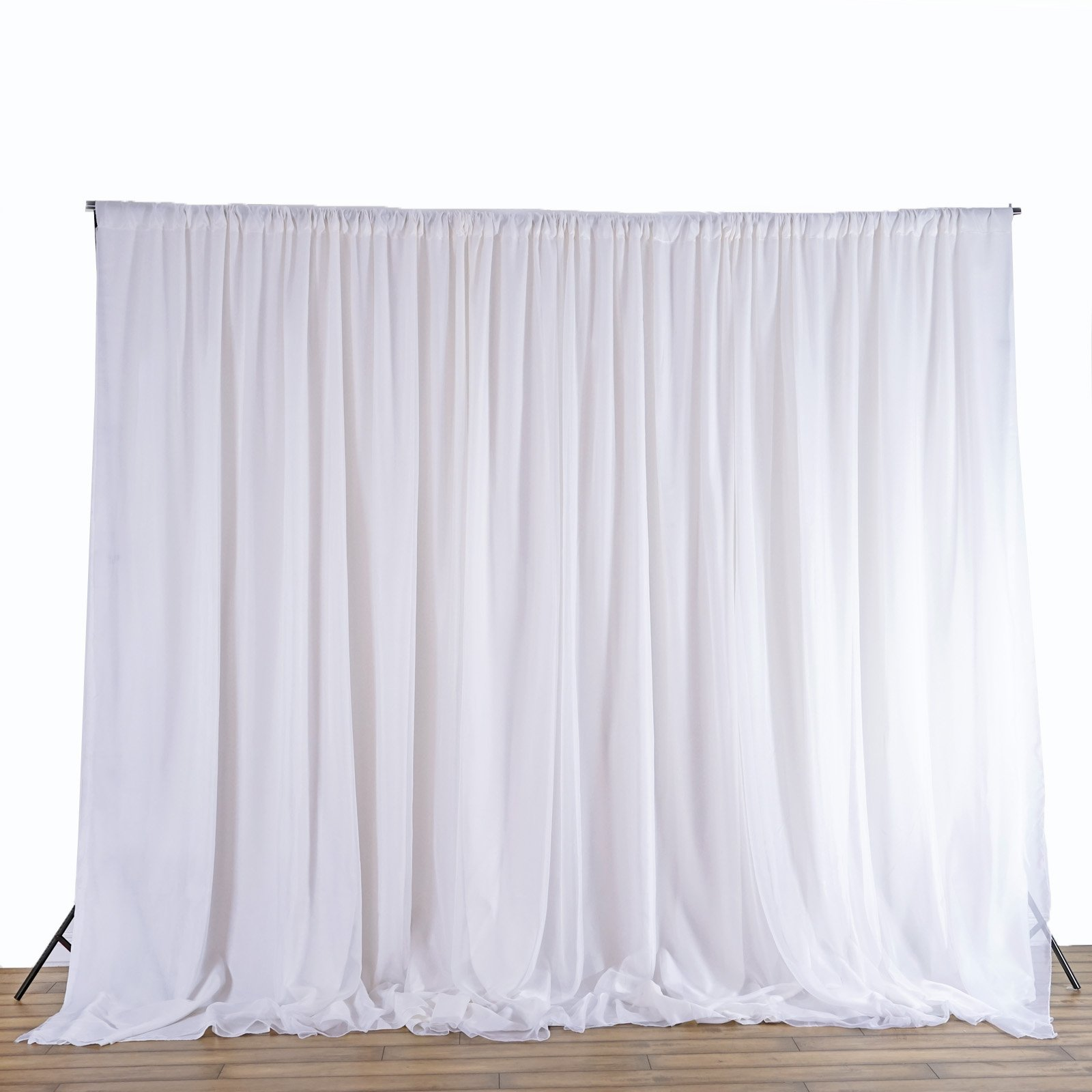 BalsaCircle 20 feet x 8 feet White Fabric Backdrop Drapes Curtains - Wedding Ceremony Event Party Photo Booth Home Windows by BalsaCircle