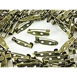 ノーブランド品 ブローチピン 20mm 100個 金古美 アンティークゴールド 2穴 ウラピン ブローチピンパーツ ウラピンパーツ (AP0211)
