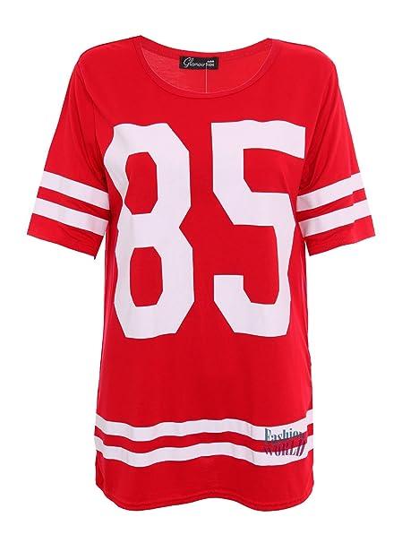 Damen Baggy Shirt '85' Aufdruck College T-Shirt Übergröße American Baseball  Top 36
