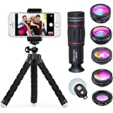 Apexel 8 in 1 Phone Camera Lens Kit 18X Telephoto Telescope Zoom lens Wide Angle + Macro Lens + Fisheye + Kaleidoscope 6 Lens + Star Filter for iPhone X/8 7 Plus/6S Samsung Galaxy S8 S7 Huawei and most Android Smartphone Remote Shutter Tripod