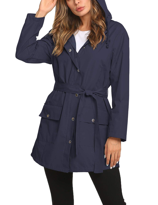 2 Navy bluee ZHENWEI Rain Jacket Women Long Raincoat Lined Rain Coat Waterproof Windbreaker for Hiking Travel