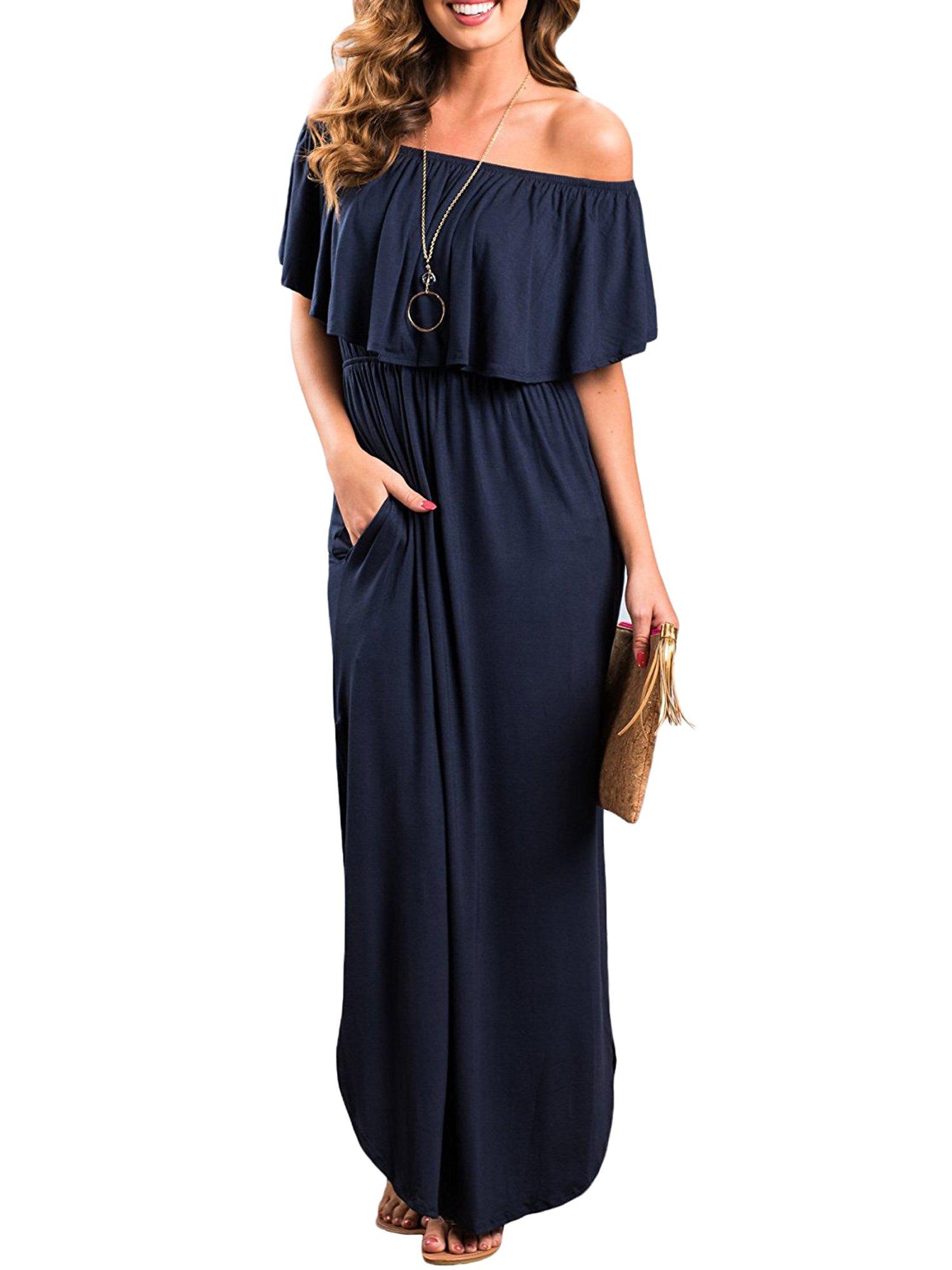 Aifer Women Off Shoulder Ruffle Long Maxi Dress Boho Beach Party Side Split Pockets Dresses
