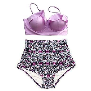 14f93c5b53140 Noon-Sunshine High Waist Bikinis Women Swimsuit Plus Size Swimwear Retro  Floral Push up XL