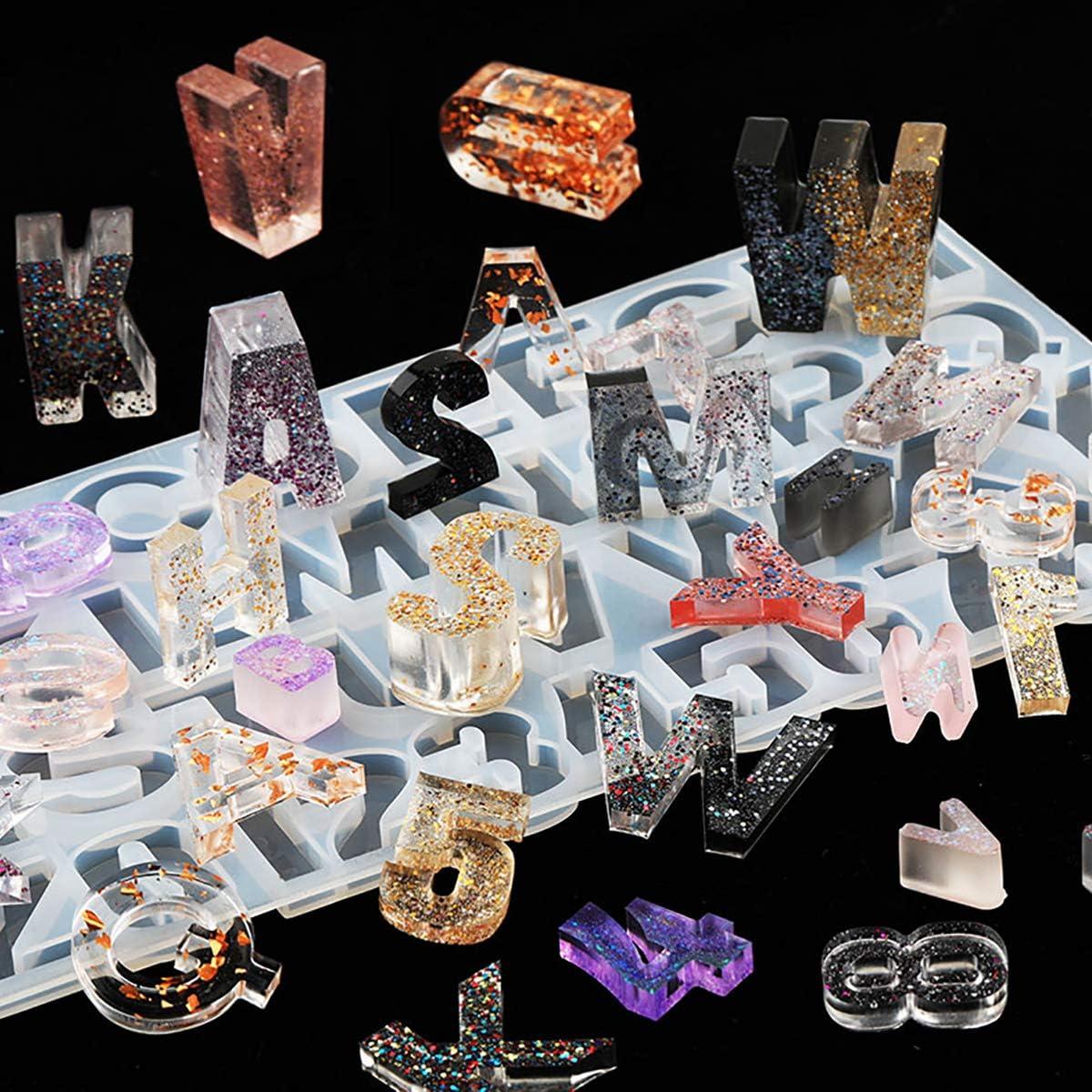 iSuperb Gie/ßform Silikonform Buchstabe kleine,Silicone Mold 9 st/ück Metall L/ünette Tablett f/ür Schl/üsselbund,Hausnummer,Schmuck,Anh/änger,Handwerk haargummis