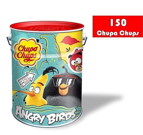 Chupa Chups Lata Angry Birds - Caramelos con Palo de Sabores Variados, 150 unidades